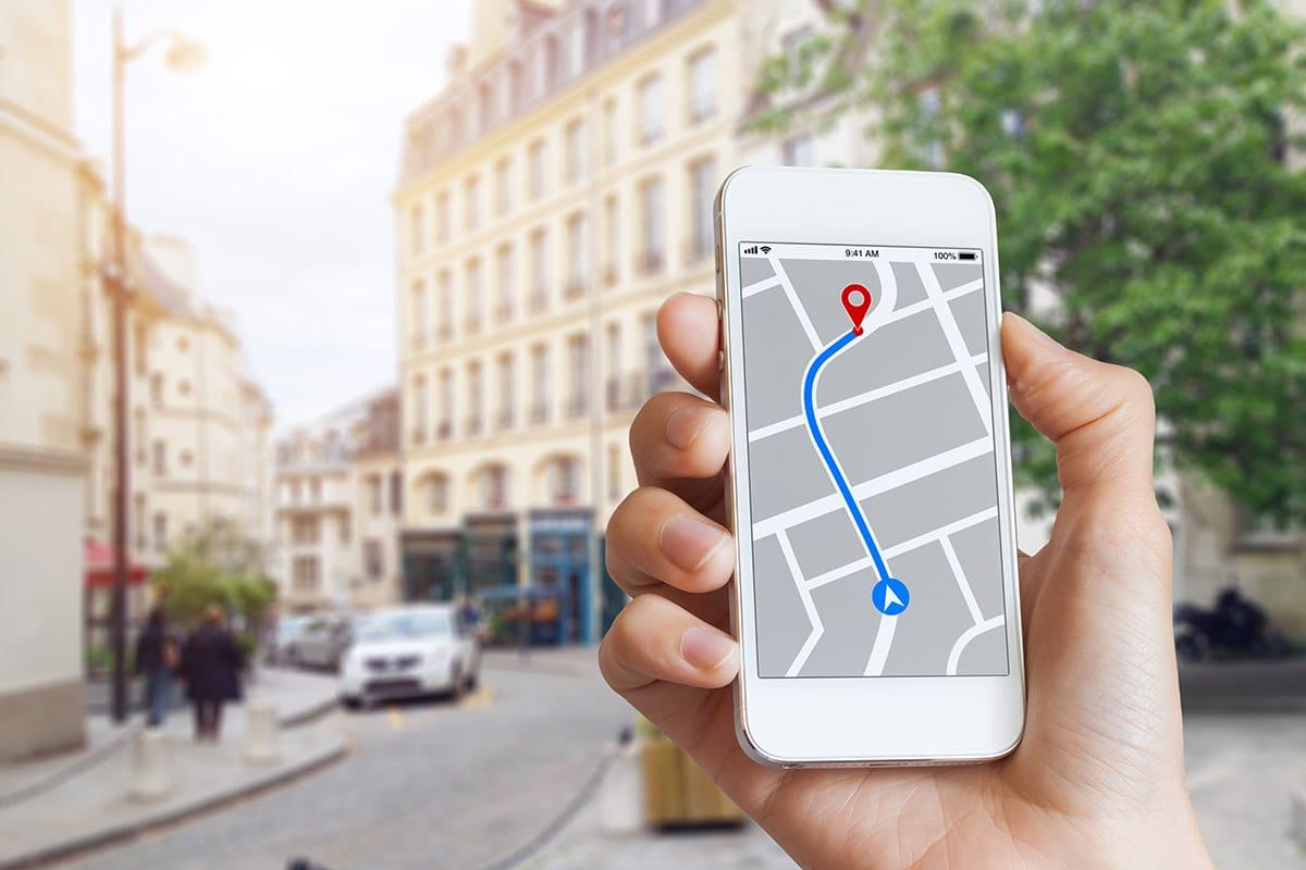mapová aplikace při použití offline