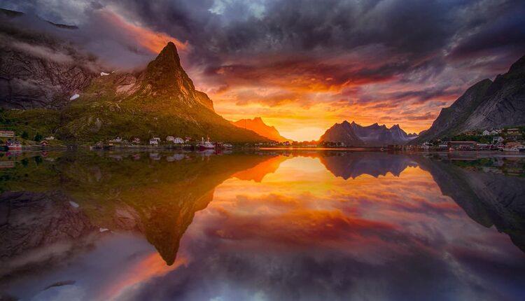 Západ slunce nad Reine